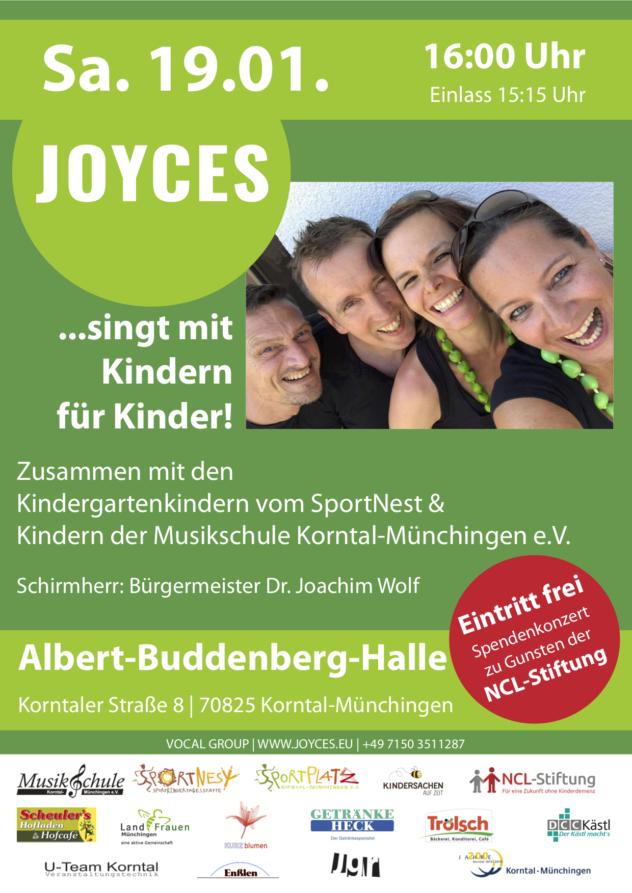 JOYCES singt mit Kindern für Kinder 2.0 - Benefizkonzert zu Gunsten der NCL Stiftung @ Albert-Buddenberg-Halle | Korntal-Münchingen | Baden-Württemberg | Deutschland